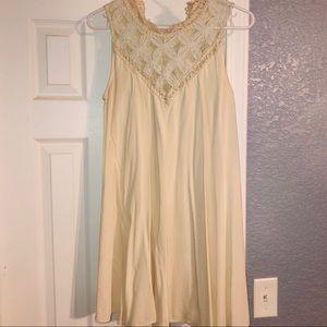 Cream Dress with Crochet Detail